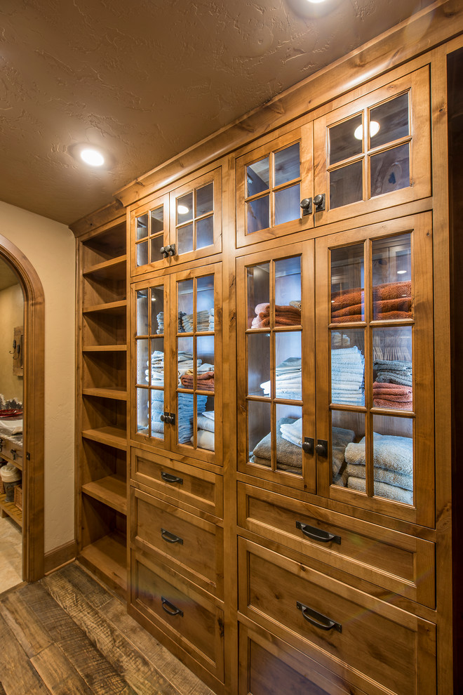 rustic closet see through shelves