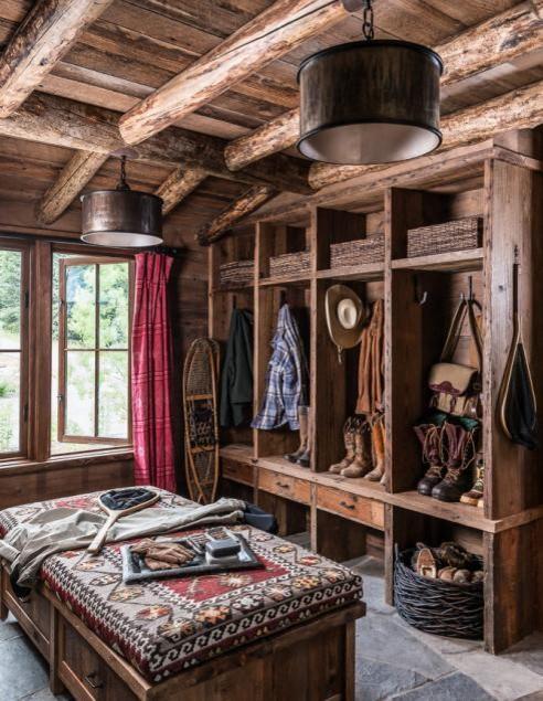 rustic closet w beams