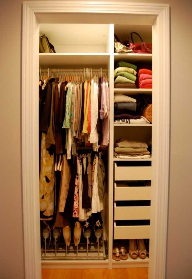 Shelves, Bars And Drawers In This Tiny Closet. Perfect!