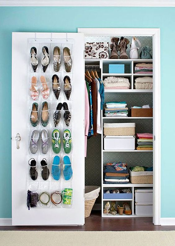 Excellent Tiny Closet. Multiple Shelf Heights And Sizes Allow For Storage  Of Various Clothes And Items.